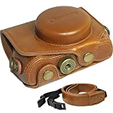 Clanmou G7 X MarkII Protective Leather Camera Case Bag for Canon PowerShot G7 X Digital Camera with Camera Shoulder Strap Brown