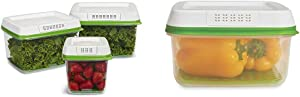 Rubbermaid - FreshWorks Produce Saver Food Storage Container, & FreshWorks Produce Saver Food Storage Container, Large Square, 11.1 Cup, Green