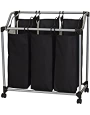 Household Essentials 9117 Triple Laundry Sorter on Wheels, Black and Grey