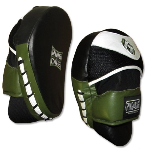 Ring to Cage Deluxe Curved Punch Mitts - Professional Mitts for Boxing, Muay Thai, MMA, Kickboxing, Martial Arts
