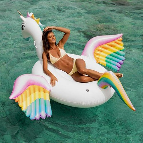 Swimming Ring Giant Inflatable PVC Pool Float RaftSwimming Water Recreation Leisure Lounger 250X250x130cm(Horse With Wing) Ourdream   B07CHL767V