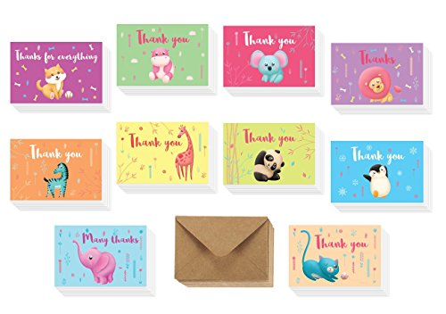 Baby Girl Note Cards - Safari Baby Shower Thank You Cards - 40 Kids Birthday Colorful Tropical Jungle Animals Thank U Notes - Elephant, Panda, Puppy, Giraffe, Cat, Lion, Hippo - Girl or Boy - 42 Brown Kraft Envelopes