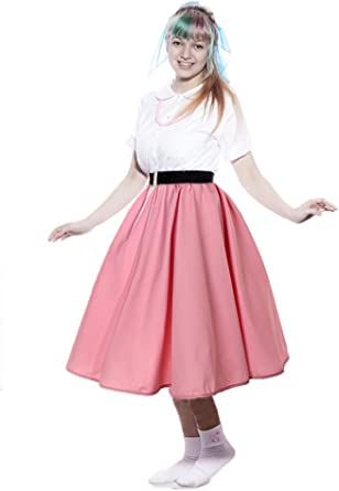 Size S-M Vintage Red-White 50/'s Cotton Full Skirt with Wide Waistband