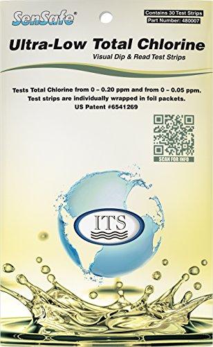 Industrial Test Systems SenSafe 480007 Total Chlorine Test Strip, Ultra Low Range, 40 Seconds Test Time, 0-0.2mg/L Range (Pack of 30) ()
