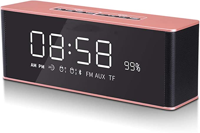 OESFL Altavoz Bluetooth Reloj Despertador Digital Pantalla de ...