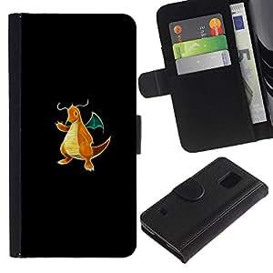 NEECELL GIFT forCITY // Billetera de cuero Caso Cubierta de protección Carcasa / Leather Wallet Case for Samsung Galaxy S5 V SM-G900 // Meter Monster Golden Dragon