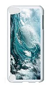 Ipod 5 Case,MOKSHOP Cute big blue waves Hard Case Protective Shell Cell Phone Cover For Ipod 5 - PC White