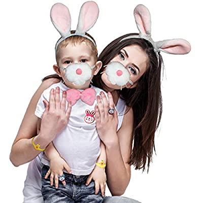 Bunny Costume Set for Easter Halloween Rabbit Ears Headband Bow Ties Tail Set Nose & Other 12 PCs Bulk Dress Up Accessories: Clothing