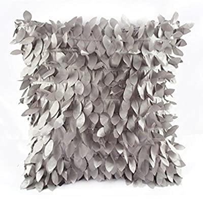 "Juanshi Set of 2 Piece 16.9"" x 16.9"" Decorative Raised Leaf Throw Pillow Cover Color Silver Grey"
