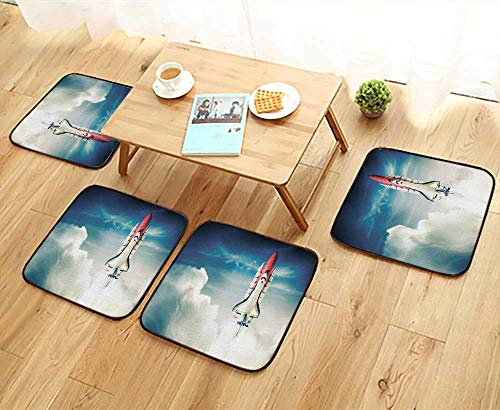 Mission Rocker Glider - UHOO2018 Chair Cushions Space Shuttle tak Off on a Mission Non Slip Comfortable W25.5 x L25.5/4PCS Set