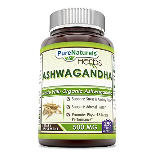 Pure Naturals Ashwagandha 500 Mg 250 Veggie Capsules -Supports Stress & Anxiety Relief* Support Adrenal Health* Promotes Physical & Mental Performance