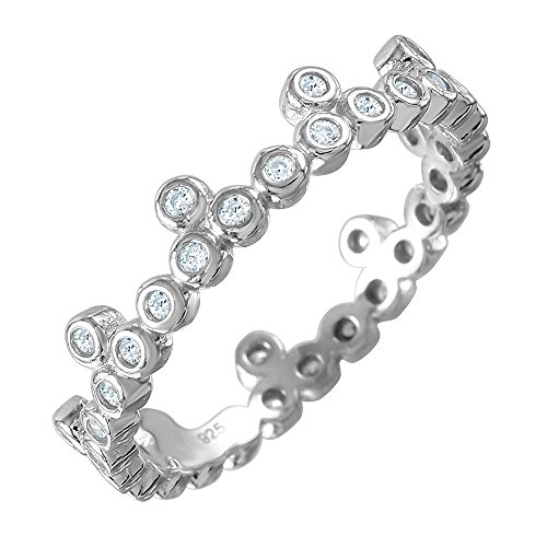 Clear Bezel Set Cubic Zirconia Crown Design Stackable Ring Rhodium Plated Sterling Silver Size 8