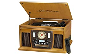 Victrola Navigator 8-in-1 Bluetooth Record Player & Multimedia Center with Built-in Stereo Speakers - 3-Speed Turntable, Vinyl to MP3 Recording Wireless Music Streaming Oak