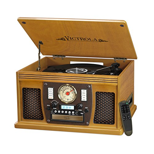 Victrola Nostalgic Aviator Wood 8-in-1 Bluetooth Turntable Entertainment Center, Oak