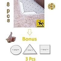 ENESHQ Rug Grippers 8 pcs + Bonus Gel Pads 3 pcs - Anti Curling & Non Slip Rug Pad - Washable AND Reusable