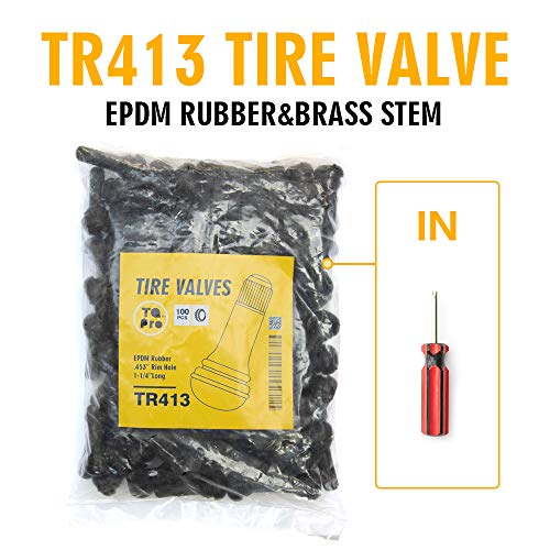 (TQ Pro. TR413 Rubber Snap-in Tire Valve Stem (100 pcs/Bag) (Valve Tool in))