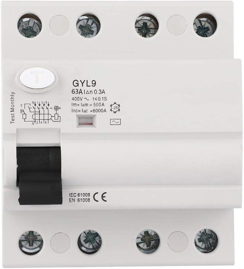 Belissy Interruptor GYL9 4P 400VAC interruptor diferencial de corriente residual eléctrica de fuga protector (63A)