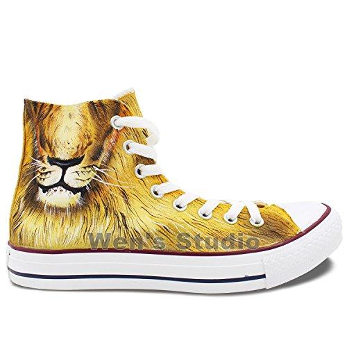 Wen Ontwerp Felle Leeuw Dier Handgeschilderde Aangepaste Schoenen Unisex Canvas Sneakers