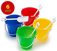Top Race Beach Pails and Sand Shovels 5 Inch (Pack of 6)