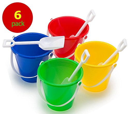 Top Race Beach Pails and Sand Shovels 5 Inch (Pack of 6) by Top Race