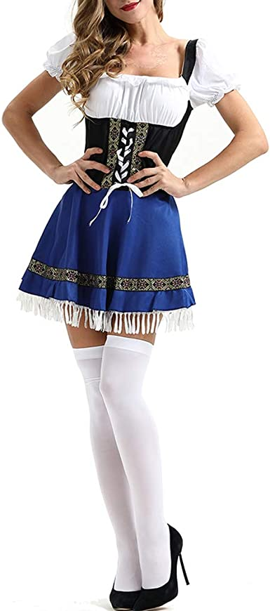 Leoie Oktoberfest - Disfraz de cervezita bávara, para Mujer Azul ...