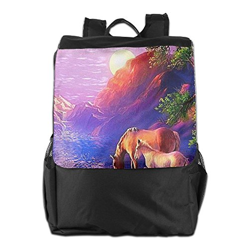 HSVCUY Personalized Outdoors Backpack,Travel/Camping/School-Horses With Sunset Adjustable Shoulder Strap Storage Dayback For Women And Men