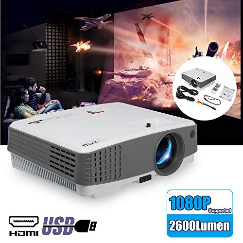 EUG Portable Movie Projector Home Cinema Indoor/Outdoor Use 3300 Lumen LCD LED Multimedia Mini Projector 1080P Supported Compatible with iPhone DVD Fire TV Stick Video Games PC Roku