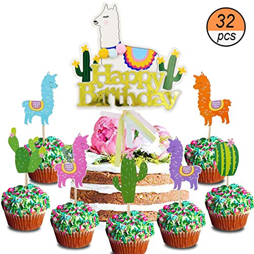 Llama and Cactus Dessert Cupcake Cake Toppers Picks Llama Fiesta Party Decorations Baby Shower Birthday Supplies, Set of -