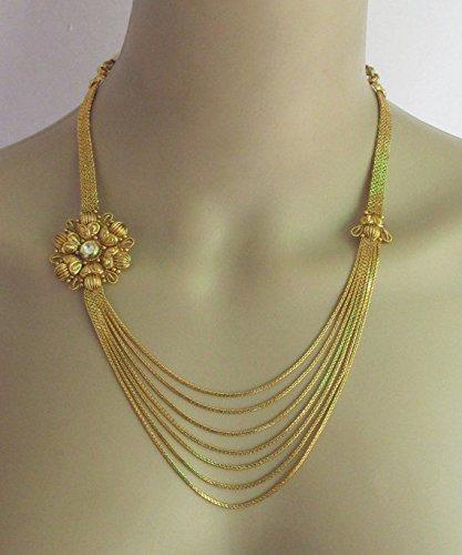 Gold Kundan Necklace Set/Wedding Multi Layered Chandra haram Necklace With Side Pendants/Gold Kundan Designs/South Indain Bollywood Necklace