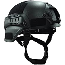 OneTigris MICH 2000 Style ACH Tactical Helmet with NVG Mount and Side Rail for Airsoft Paintball (Black)