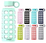 purifyou Premium Glass Water Bottle with Silicone Sleeve and Stainless Steel Lid, 12/32 oz (Glow in The Dark, 12 oz)