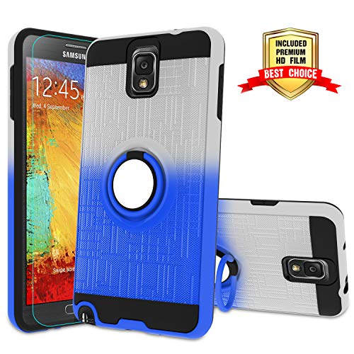 Galaxy Note 3 Case, Note 3 Phone Case with HD Screen Protector,Atump 360 Degree Rotating Ring Holder Kickstand Bracket Cover Phone Case for Samsung Galaxy Note III,N9000,N9005,Note 3 Sliver/Blue