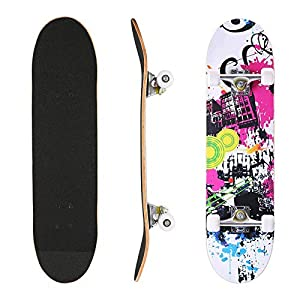 AMHoome Skateboard for Kids Adult | 31″ x 8″ Complete Beginner Pro Skateboard | Double Kick 9 Layer Canadian Maple Wood Tricks Skate Board for Teens | Gift for Boys Girls 5 Up Years Old