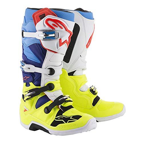 Alpinestars Tech 7 Boots-Yellow Flo/White/Blue/Cyan-10