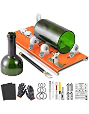 Glass Bottle Cutter, Upgrade Bottle Cutting Tool Kit, Glass Cutter for Wine, Square Round and Oval Bottles, with Pencil Glass Cutter Tool Kit Gloves Fixing Rubber Ring Hemp Rope Sanding Paper for DIY