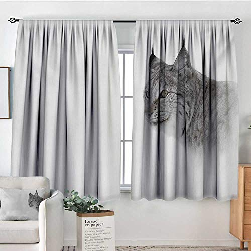 Elliot Dorothy Rod Pocket Blackout Curtain Hunting,Lynx in The Central Norway Wild Cat North Cold Snowy Mountain Carnivore Predator,Grey White,Decor/Room Darkening Window Curtains 42
