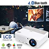 EUG Wireless Home Cinema LED LCD Video Projector, HD 1080P 720P HDMI WiFi droid Miracast iOS Airplay Support for Netflix Apps Chromecast Smartphone DVD Blu Ray TV Roku Game Consoles