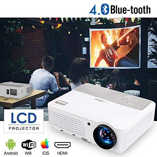 Bluetooth Projector Wireless 2018 Android 6.0 LCD LED Smart WiFi TV Proyector 1080P HD 3600 lumens Airplay Apps for Cell Phone Laptop Screen Cast, with HDMI USB Composite Video VGA Speakers