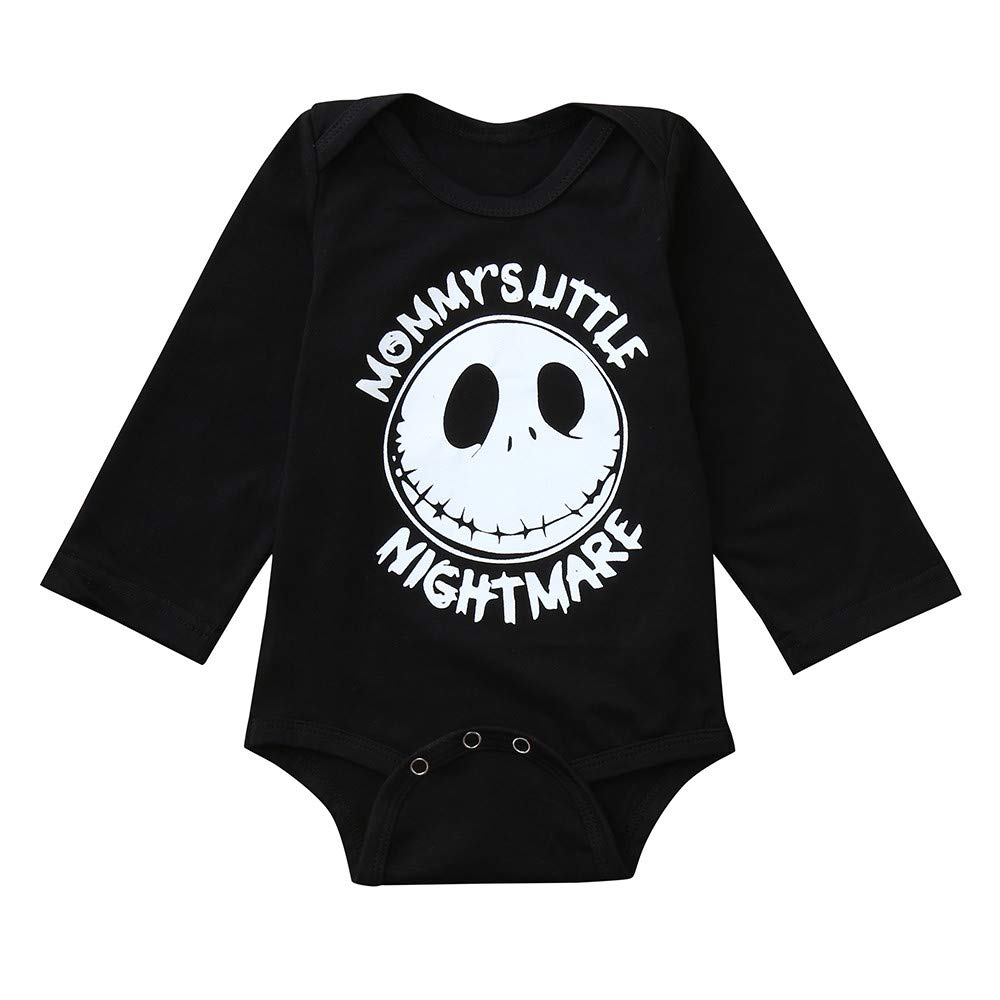 ZODOF Top Negro para bebé Halloween Toddler Baby Mangas largas Cartoon Grimace Letter Print Mameluco del Mono