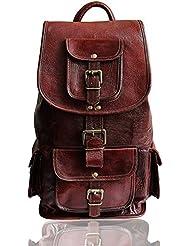 15 Genuine Leather Retro Rucksack Backpack College Bag School Picnic Bag Travel