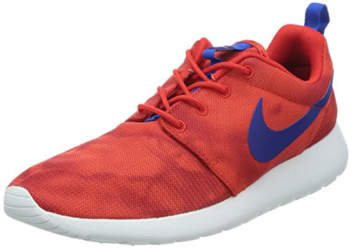Nike Men's Rosherun Print, CHALLENGE RED/DEEP ROYAL BLUE-HYPER COBALT, 9.5 M US