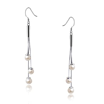 925 Sterling Silver White Shell pearl Drop Pearl Earrings With Gift Pouch Box