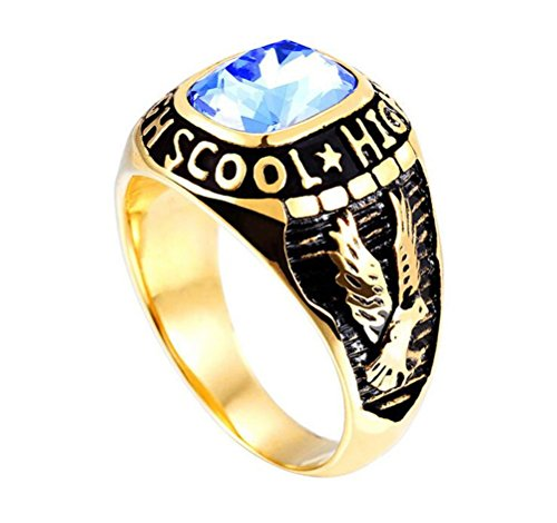 HIJONES Men's Stainless Steel Engraved Eagle High School Class Ring with Blue Glass Gold Size 10