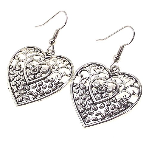 (Antique Silver Tone Open Filigree Scroll Flower Daisy Earrings Stainless Steel Fishhook Earwires (Heart))