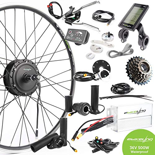 EBIKELING 36V 500W 700C Geared Rear Waterproof Electric Bicycle Conversion Kit (Rear/LED/Thumb)