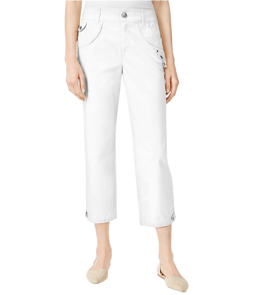 Style & Co. Womens Studded Casual Cropped Pants White 12P/21 - Petite