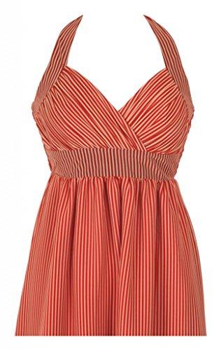 Diseño de larga Evening diseño de impresión sin mangas vestidos de novia e instrucciones para hacer vestidos Empire cuello halter Red with Yellow stripes