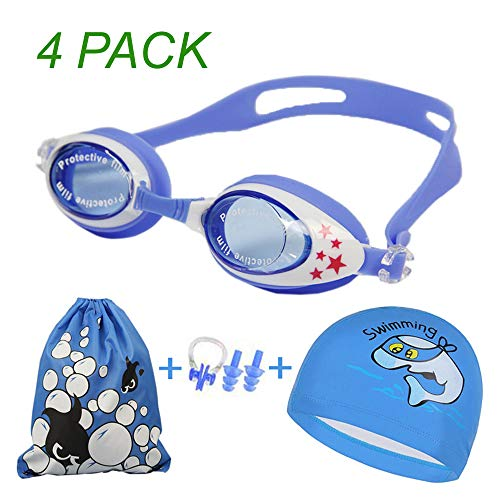 USCF Swim Goggles Cap Set,6 in 1 Swimming Goggles + Drawstring Bag + Nose Clip + Ear Plugs + Case+Swim Cap Water Proof Anti Fog UV Protection for Kids and ()