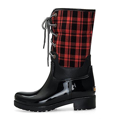 TONGPU Fashion Warm Lace-Up Girls Rain Boots Red JgAZj1A79