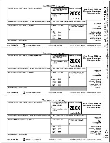 Amazon EGP IRS Approved 5498 SA Copy B Beneficiary Tax Form Office Products